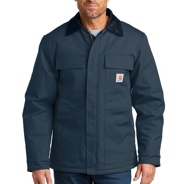 Carhartt Navy Blue Embroidered Duck Traditional Coat