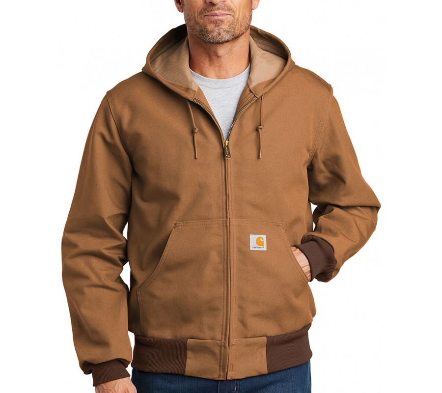 Carhartt Brown Embroidered Thermal-Lined Duck Active Jacket